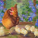 """Precious Peeps"" - Mama Chicken and Chicks by Rainelle  Meridith"