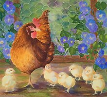 """""""Precious Peeps"""" - Mama Chicken and Chicks by Rainelle  Meridith"""
