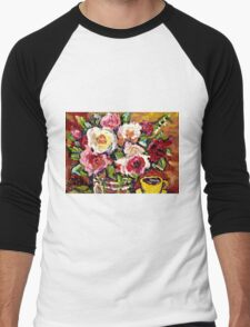 BEAUTIFUL FLORAL BOUQUET WITH YELLOW ROSES IN A VASE Men's Baseball ¾ T-Shirt