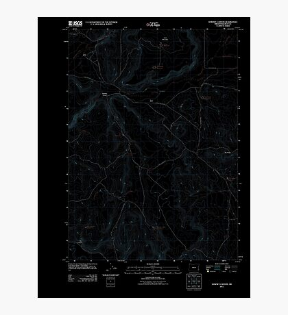 USGS Topo Map Oregon Downey Canyon 20110902 TM Inverted Photographic Print
