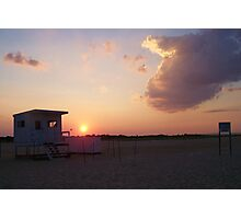 sunset by lifeguard shack Photographic Print
