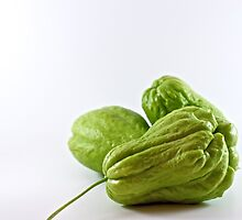 Three green chokos by Janette Anderson