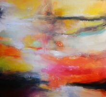 Red Blue orange painting, Abstract Landscape  by AndradaArt