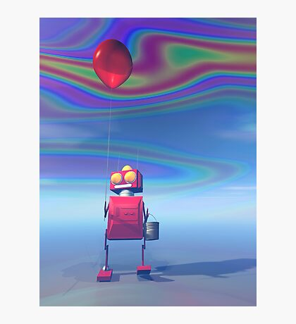 Little Red Birthday Robot 2 Photographic Print