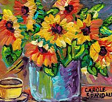 BEAUTIFUL SUNFLOWERS IN BLUE VASE ORIGINAL FLORAL PAINTING FOR SALE by Carole  Spandau