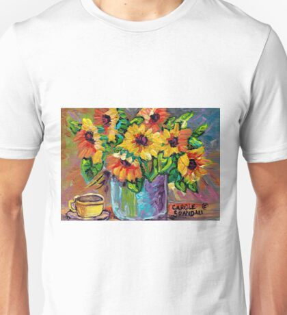 BEAUTIFUL SUNFLOWERS IN BLUE VASE ORIGINAL FLORAL PAINTING FOR SALE Unisex T-Shirt