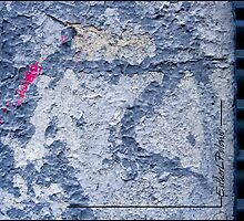 PINK ON BLUE CRACKED by EstherLPolonio