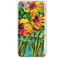 FLORAL STILL LIFE SUNFLOWERS WITH CUP COLORFUL ORIGINAL PAINTING iPhone Case/Skin