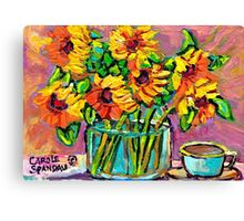 FLORAL STILL LIFE SUNFLOWERS WITH CUP COLORFUL ORIGINAL PAINTING Canvas Print