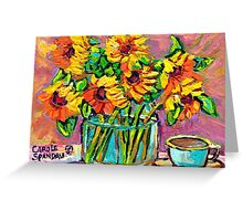 FLORAL STILL LIFE SUNFLOWERS WITH CUP COLORFUL ORIGINAL PAINTING Greeting Card