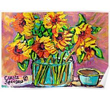 FLORAL STILL LIFE SUNFLOWERS WITH CUP COLORFUL ORIGINAL PAINTING Poster