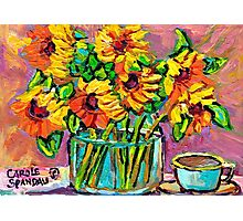 FLORAL STILL LIFE SUNFLOWERS WITH CUP COLORFUL ORIGINAL PAINTING Photographic Print