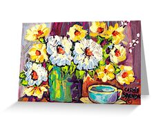 WHITE AND YELLOW FLOWERS IN A VASE COLORFUL ORIGINAL PAINTING Greeting Card