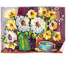 WHITE AND YELLOW FLOWERS IN A VASE COLORFUL ORIGINAL PAINTING Poster