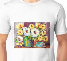 WHITE AND YELLOW FLOWERS IN A VASE COLORFUL ORIGINAL PAINTING Unisex T-Shirt