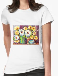 WHITE AND YELLOW FLOWERS IN A VASE COLORFUL ORIGINAL PAINTING Womens Fitted T-Shirt