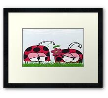 Ladybug Wooing His New Love Framed Print