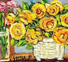 HAND PAINTED ORIGINAL PAINTING YELLOW FLOWERS IN WHITE VASE by Carole  Spandau