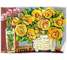 HAND PAINTED ORIGINAL PAINTING YELLOW FLOWERS IN WHITE VASE Poster