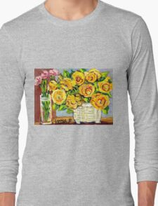 HAND PAINTED ORIGINAL PAINTING YELLOW FLOWERS IN WHITE VASE Long Sleeve T-Shirt