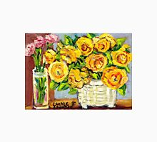 HAND PAINTED ORIGINAL PAINTING YELLOW FLOWERS IN WHITE VASE Unisex T-Shirt