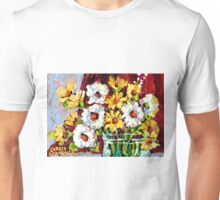 BEAUTIFUL FORAL ARRANGEMENT WITE AND YELLOW DAISIES ORIGINAL PAINTNG Unisex T-Shirt
