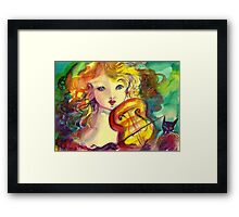 VIOLINIST GIRL ,VIOLIN  AND CAT  Framed Print