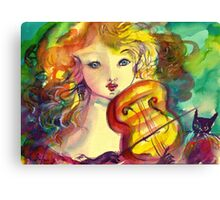 VIOLINIST GIRL ,VIOLIN  AND CAT  Canvas Print