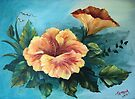 Peach Hibiscus in Acylic by teresa731