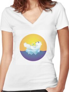 Tropical Iceland Women's Fitted V-Neck T-Shirt