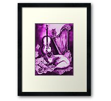 MUSICAL CAT AND OWL ,Purple Violet and White Framed Print