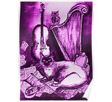 MUSICAL CAT AND OWL ,Purple Violet and White Poster
