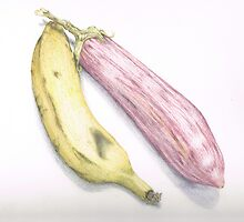 eggplant and banana, 1st illustration  by Tamas Leeman
