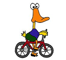 Funny Yellow Duck Riding Bicycle Photographic Print
