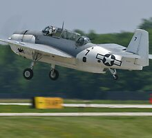NL9584Z TBM-3 Avenger taking off by Henry Plumley