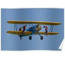 The Stearman Wingwalkers hanging upside down Poster