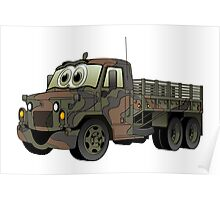 Military Flatbed Truck Cartoon Poster
