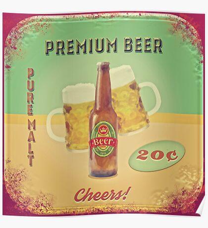 50s Premium Beer Pure Malt  Poster