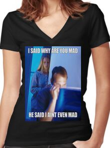 I said why are you mad He said I ain't  even mad Women's Fitted V-Neck T-Shirt