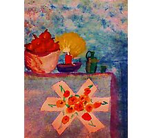 Vintage Snack time, Apples and Water, watercolor Photographic Print