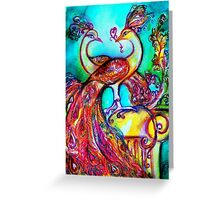 PEACOCKS IN LOVE IN BLUE TURQUOISE Greeting Card