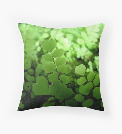 Heart shaped ferns Throw Pillow