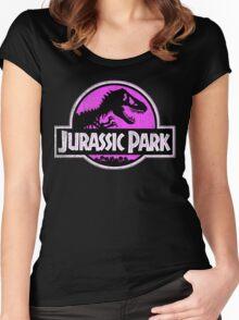 Jurassic Park Logo Grunge Women's Fitted Scoop T-Shirt