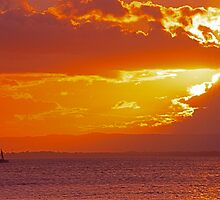 Trawler at sunset by imagekinesis