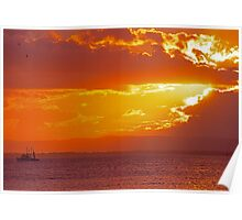 Trawler at sunset Poster