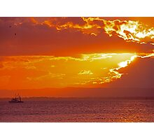 Trawler at sunset Photographic Print