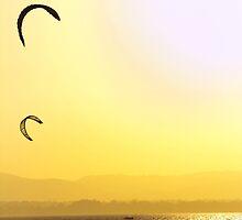 Kite surfing sunset by imagekinesis