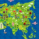 Cartoon Map of Asia by Anastasiia Kucherenko