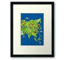 Cartoon Map of Asia Framed Print