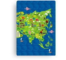 Cartoon Map of Asia Canvas Print